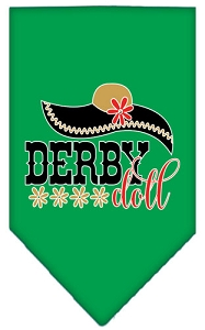 Derby Doll Screen Print Bandana Emerald Green Small